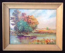 Vintage Landscape Painting Signed A Holmes Lake Scene Framed