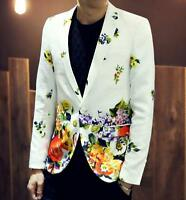 Stylish Men's Casual Slim Fit One Button Suit Blazer floral Coat Jacket Outwear