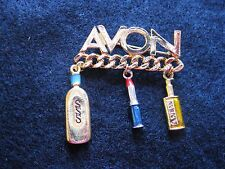 Collectible Avon Pin Brooch with 3 Charms SSS Lipstick and Anew
