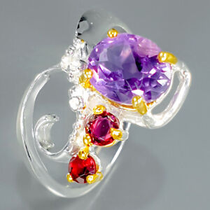925 Sterling Silver Natural Amethyst rhodolite fashion Jewelry Ring   / RVS321