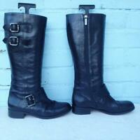 HOBBS Leather Boots Size Uk 4 Eur 37 Womens Ladies Sexy Buckles Black Boots