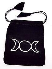 Triple Moon, Goddess - Velvet Black Gift Bag / Jewellery Pouch Drawstring.Pagan