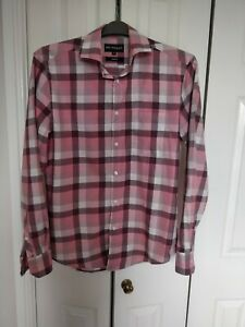 Men's Salmon And White Check Long Sleeved Shirt Size M By Autograph