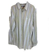 The Territory Ahead Button Up Shirt Mens Sz XXL White Green Long Sleeve CC16