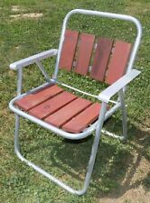 Vintage Aluminum Wood Folding Lawn Chair Camping Wooden Slats Red MCM