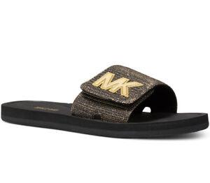 NIB Size 7 Michael Kors MK Logo Pool Slide Sandals Chain-mesh Black Gold