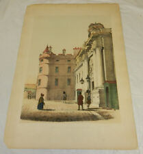 1839 Antique COLOR Print//Queen Mary's Tower Holyrood Palace