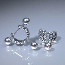 Silver stud filigree flower stainless steel earrings huggies cuff screw on