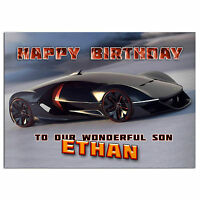 c275; Large Personalised Birthday card; Custom made for any name; Sport Car