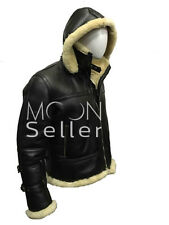 Men's Stylish B3 Bomber Full Fur Removable Hood Genuine Cow Leather Jacket