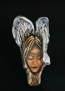 Beautiful Angel from 120 years old wood, European hand made with silver coating