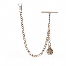 Brand New Silver Colour Single Albert Pocket Watch Chain with Pendant