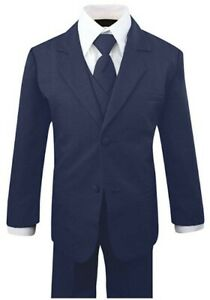 Boys Kid Toddler Formal Navy Blue Suit 5 pieces Set with Vest and Tie Size XL-14