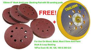 """150mm 6"""" Hook And Loop  Backing Pad / With 50 Hook & Loop Sanding Pads"""