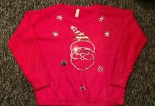 Women's No Boundaries Ugly Christmas Sweater XXL Creepy Googly Eye Santa