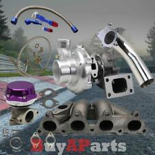 T3T4 TURBO+MANIFOLD+PURPLE WASTEGATE+OIL FEED RETURN+DOWNPIPE FOR D15 D16 ENGINE