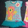 Official Girls My Little Pony Dress Tunic Top T-shirt Stripe Pink Blue Frill