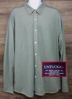UNTUCKit Men's Green CoolMax Polyester Long Sleeve Button Front Shirt 3XL