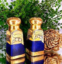 Vintage Cobalt Blue Iridescent Gold Salt Pepper Shakers Old Hollywood Style