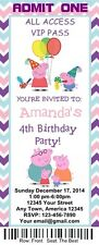 12 Personalized Peppa Pig Birthday Ticket Invitations w/Envelops