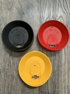 Tervis Tumbler 16oz Lid Lot Of 3 Red Black Yellow