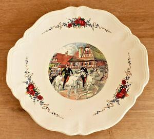 Antique Flat Sarreguemines France Obernai Signed H.Loux Pattern Horses Flowers