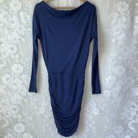 Athleta Solstice Modal Dress Ruched Skirt Draped Long Sleeve Blue Women's XXS