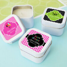 96 Personalized Square Tin Birthday Candles Birthday Party Candle Favors