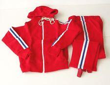 Authentique vintage Survêtement Enfant - Rouge - Taille 10 ans - Bandes bleu