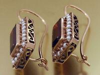 E144 Genuine 9ct ROSE Gold Natural Garnet Pearl Cluster Earrings lever-back