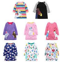 Kids Girl Long Sleeve Stripe Printed Princess Dress Knee Length Cartoon Clothes