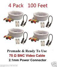 Lot-4 100Ft Bnc Male 100B Cable w 2 Female Connectors