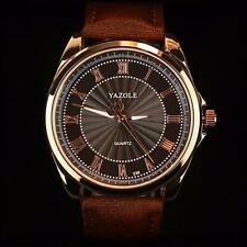 Elegant Herren Leder Armbanduhr Militär Sportuhr Analog Quartz Datum Watch DE