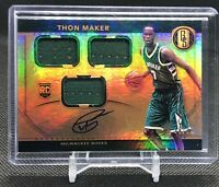 🔥 THON MAKER RC 2016-17 GOLD STANDARD TRIPLE JERSEY ROOKIE PATCH AUTO /99 BUCKS