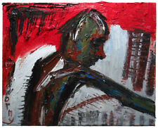 Signed Impressionist  Oil Painting of   Figure wall art- Young Worker