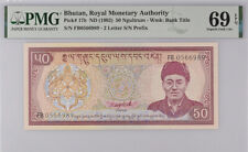 Bhutan 50 Ngultrum ND 1992 P 17 B Superb Gem UNC PMG 69 EPQ Top Pop