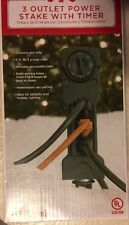 3 Outlet  Power Stake with Timer - New - 6 Foot Power Cord - Security Or Lights