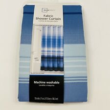 Blue Ombre Stripe 70 inch x 71 inch Fabric Shower Curtain New
