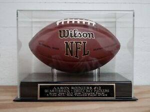 Aaron Rodgers Football Display Case With A Green Bay Packers Engraved Nameplate