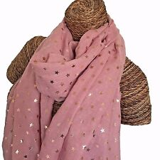 PALE PINK SCARF WITH ROSE GOLD FOIL STARS STAR DESIGN LADIES SUPERB SOFT QUALITY