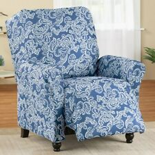 Recliner Chair Slipcover Blue Paisley Knit Cover Stretch Pet Furniture Protector