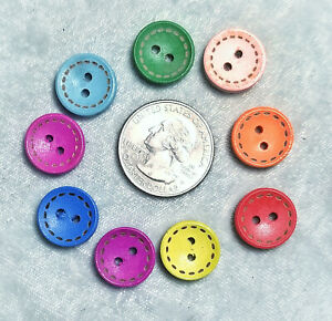 """New, Choose Colors: 4 Wood Round Buttons 1/2"""" 2 holes"""