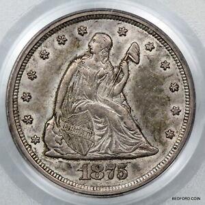 NICE ORIGINAL SKIN OLD PCGS AU55 1875-S TWENTY CENT PIECE  20c   (BC37)