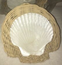 "4 Baking Scallop Shells (4-5"") Beach Wedding Party Nautical Craft Rattan Holders"
