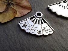 Antique Silver Fan Charms 15pcs Design 3 Steampunk Vintage Pendants Kitsch