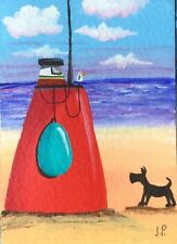Original Acrylic ACEO Painting by JULIA Seaside Dog & Big Red Boat Seascape