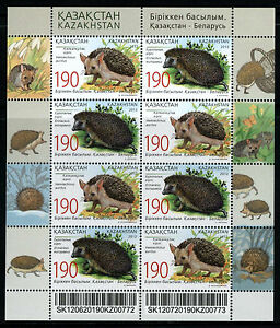 2012 Kazakhstan. Fauna. Hedgehogs. Joint issue. Sc.669. MNH. Sheet/Pane