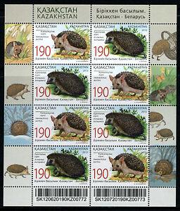 2012 Kazakhstan. Fauna. Hedgehogs. Joint issue. Sc.669. MNH. Sheet/Pane