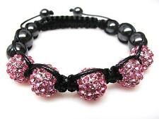 Pink Crystal Shamballa Beaded Hematite Disco Ball Hip Hop Bracelet #2