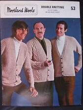 Paper Knitting Pattern 1970s Moorland Wools 53 Men's Gents Cardigan DK or 4 ply